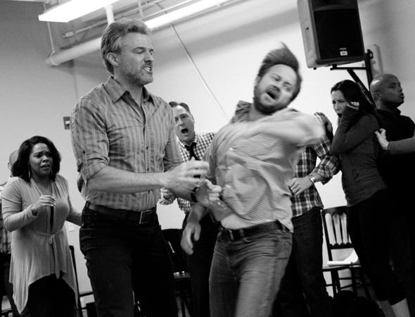 <p>As Steve, Edward Watts (left) gets to exert some force on a fellow cast member.</p><br />(© David Gordon)