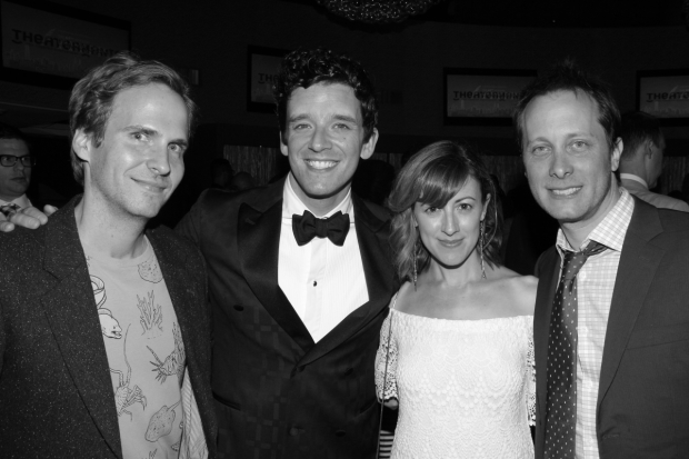 <p>As the night draws to a close, host Michael Urie celebrates with his partner, Ryan Spahn, as well as Kate Wetherhead and Jeff Croiter.</p><br />(© David Gordon)