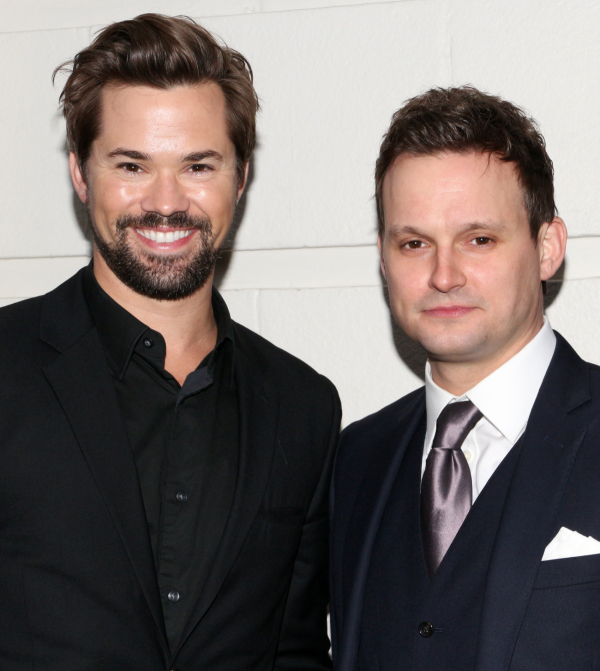 <p>Andrew Rannells (<em>Hedwig and the Angry Inch</em>) pals around with his buddy Jeremy Woodard (<em>Rock of Ages</em>).</p><br />(© David Gordon)