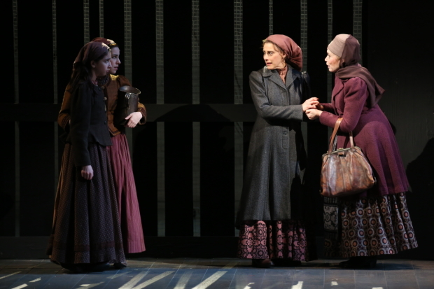 <p>Yente (Alix Korey, right) joins Golde and her daughters in a scene.</p><br />(© Joan Marcus)