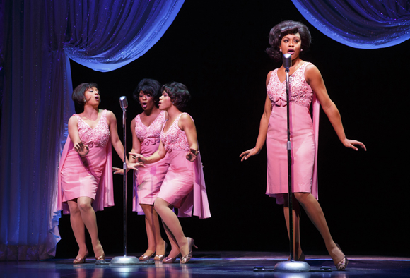 <p>Ashley Blanchet, Rashidra Scott, Alysha Deslorieux, and Carly Hughes play The Shirelles.</p><br />(© Joan Marcus)