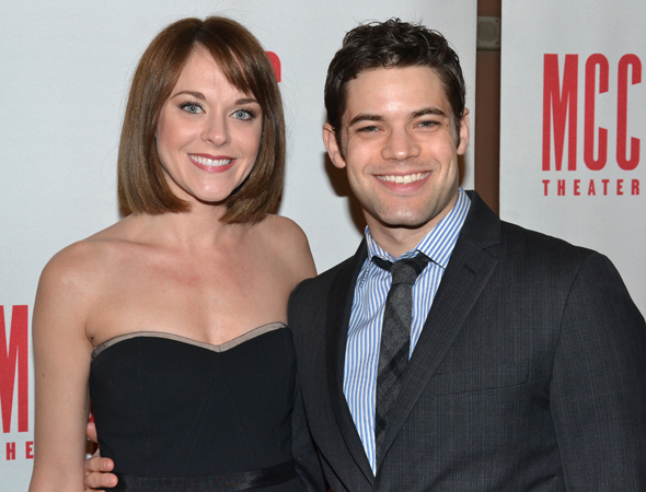 <p>Ashley Spencer and Jeremy Jordan smile for the cameras before heading into <em>Miscast</em>.</p><br />(© David Gordon)