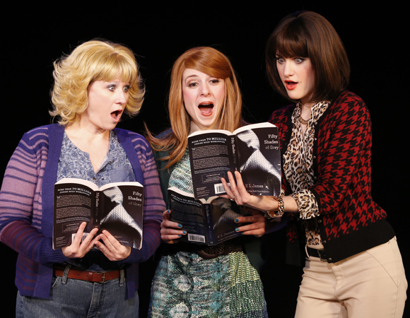 <p>Ashley Ward, Kaitlyn Frotton, and Chloe Williamson enjoy their erotic book club.</p><br />(© Carol Rosegg)