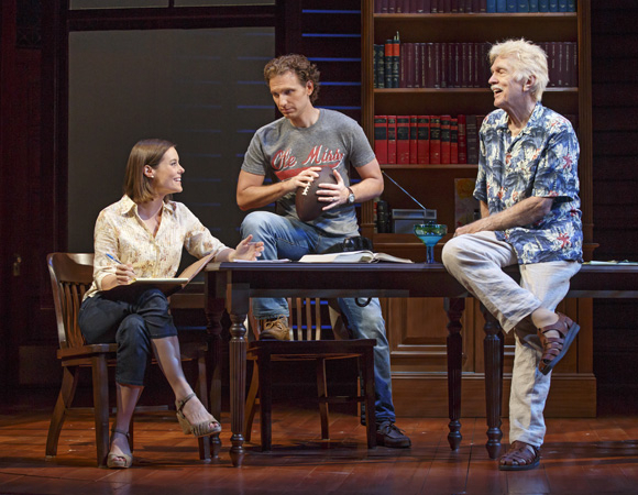 <p>Ashley Williams (liberal law student Ellen Roark), Sebastian Arcelus (Lucien Wilbanks) and Tom Skerritt in <em>A Time to Kill</em>.</p><br />(© Carol Rosegg)