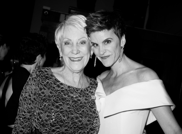 <p>At the <em>Come From Away</em> party at Redeye Grill, Jenn Colella shares a photo with her character&#39&#x3B;s inspiration, Captain Beverley Bass.</p><br />(© Monica Simoes)