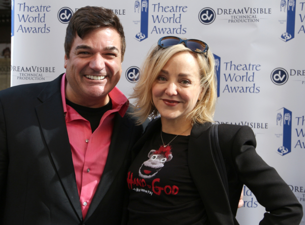 <p>At the Theatre World Awards table, producer Dale Badway and <em>Hand to God</em> Tony nominee Geneva Carr pose for photos.</p><br />(© David Gordon)