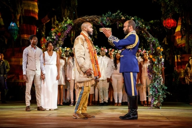 <p>Ato Blankson-Wood, Rebecca Naomi Jones, Darius de Haas, Antoine Jones, and the Sing Harlem Choir in a scene from <em>As You Like It</em>.</p><br />(© Joan Marcus)
