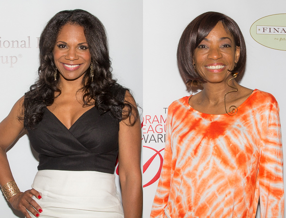 <p>Audra McDonald, a past Distinguished Performance Award winner, and Adriane Lenox, a 2014 nominee for <em>After Midnight</em>.</p><br />(© Seth Walters)