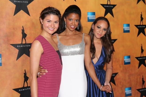 <p>August 6, 2015: Soo, Goldsberry, and Jasmine Cephas Jones celebrate the Broadway opening night in <em>Hamilton</em>.</p><br />(© David Gordon)
