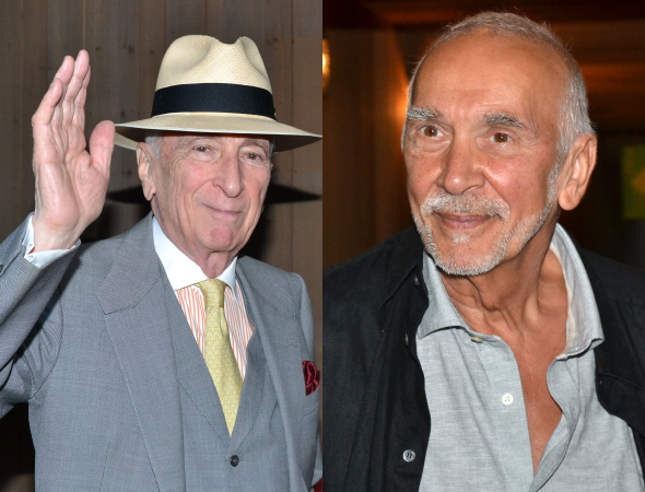 <p>Author Gay Talese and actor Frank Langella pose for photos on their way into the Delacorte Theater.</p><br />(©  David Gordon)