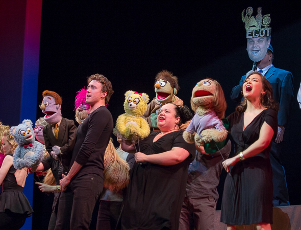 <p><em>Avenue Q</em> pays tribute to their EGOT-winning coauthor, Robert Lopez.</p><br />(© Seth Walters)