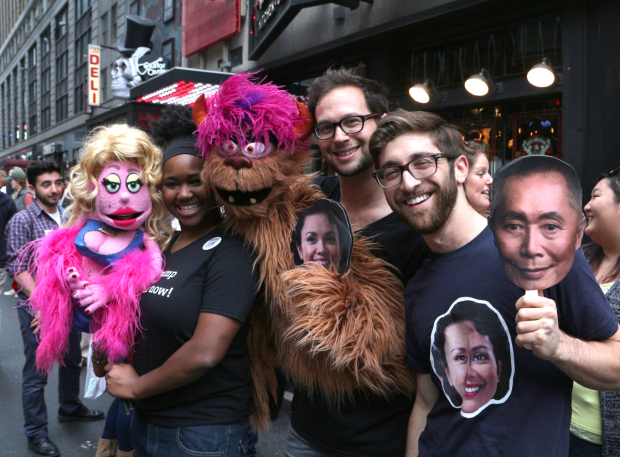 <p><em>Avenue Q</em> stars Lucy T. Slut and Trekkie Monster chill with human counterparts Imari Hardo and Jed Resnick, as well as <em>Allegiance</em> supporter Robb Nanus.</p><br />(&copy&#x3B; David Gordon)