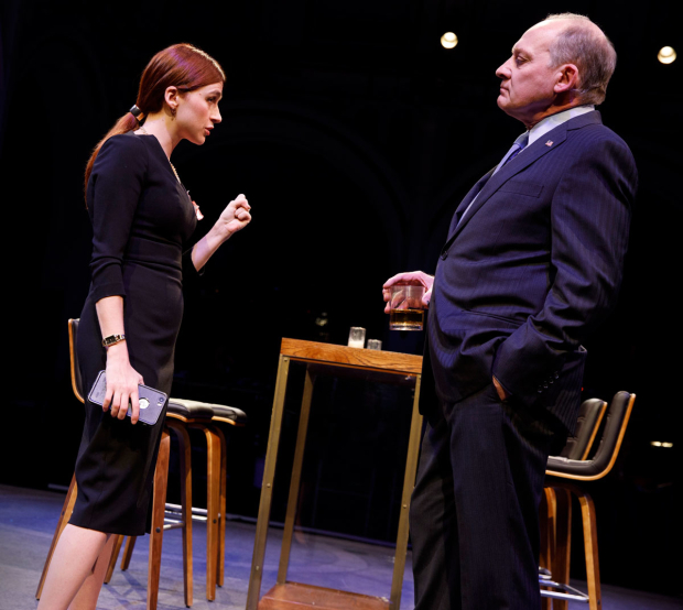 <p>Aya Cash and Zach Grenier in a scene from <em>Kings</em>.</p><br />(© Joan Marcus)