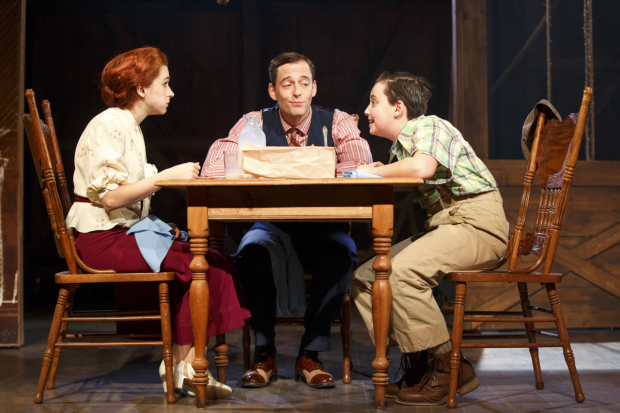 <p>Aya Cash, Ken Barnett, and Graydon Peter Yosowitz around the table in <em>The Light Years</em>.</p><br />(© Joan Marcus)