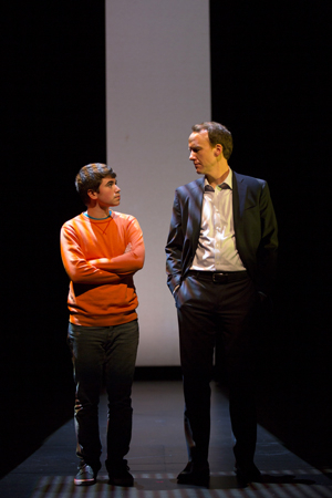 <p>Barnes (Charlie Duff) shares a scene with his stage son Noah Galvin (Ricky).</p><br />(© T Charles Erickson)