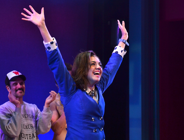 <p>Barrett Wilbert Weed is thrilled as she comes out for her curtain call.</p><br />(© David Gordon)