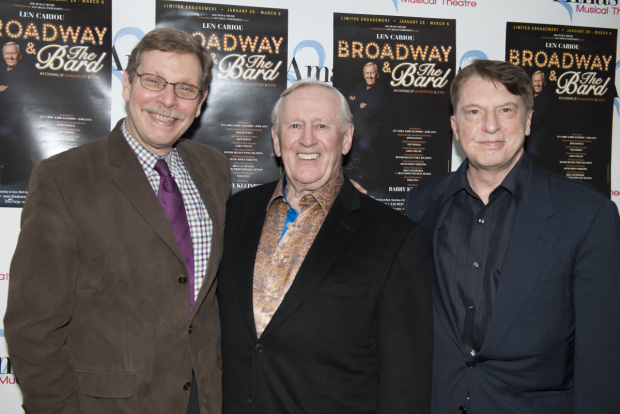 <p>Barry Kleinbort, Len Cariou, and Mark Janas celebrate the opening night of <em>Broadway and the Bard</em>.</p><br />(© Allison Stock)