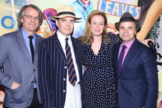 <p>Bartlett Sher, Jefferson Mays, Jennifer Ehle, and J.T. Rogers toast their opening night.</p><br />(© Tricia Baron)