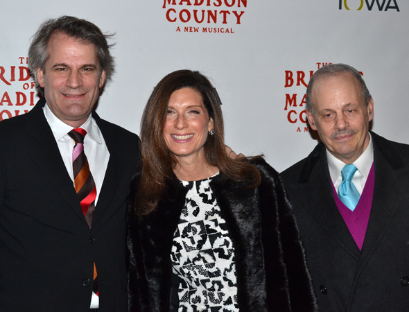 <p>Bartlett Sher smiles for the cameras with his producers, Stacey Mindich and Jeffrey Richards.</p><br />(© David Gordon)