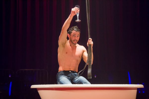 <p>Bath Boy cheers after his routine.</p><br />(© Seth Walters)