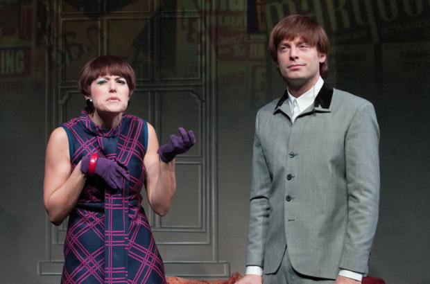 <p>Bea (Nicole Parker) and Ben (Justin Kirk) flirt as they feud, a la Shakespeare&#39&#x3B;s <em>Much Ado About Nothing</em>.</p><br />(© Ahron Foster)