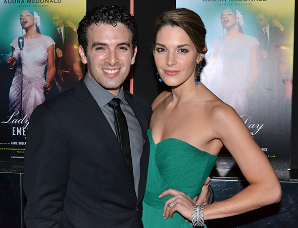<p><em>Beautiful</em> cast member Jarrod Spector attends the opening with his fiancée, Kelli Barrett.</p><br />(© David Gordon)