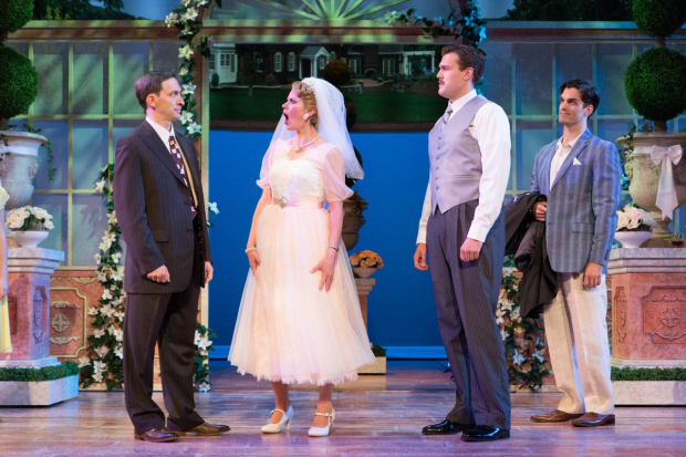 <p>Ben Dibble as Mike Connor, Megan Nicole Arnoldy as Tracy Lord, Jon Reinhold George Kittredge, and Paul Schaefer as Dexter C.K. Haven in Walnut Street Theatre's production of <em>High Society</em>.</p><br />(© Mark Garvin)