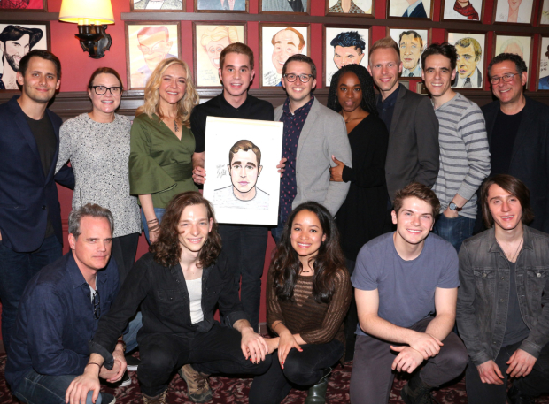 <p>Ben Platt and his caricature pose with the <em>Dear Evan Hansen</em> family.</p><br />(&copy&#x3B; David Gordon)