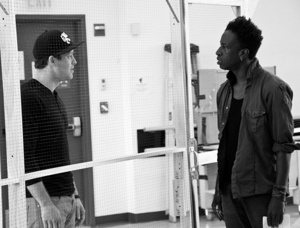 <p>Ben Thompson (Griffy) shares a scene with Saul Williams.</p><br />(© David Gordon)