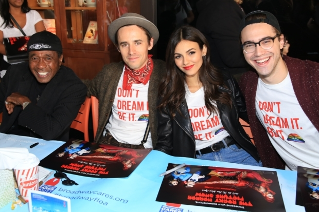 <p>Ben Vereen, Reeve Carney, Victoria Justice, and Ryan McCarten sign autographs as the cast of Fox&#39&#x3B;s <em>Rocky Horror Picture Show</em> reboot.</p><br />(© Tricia Baron)