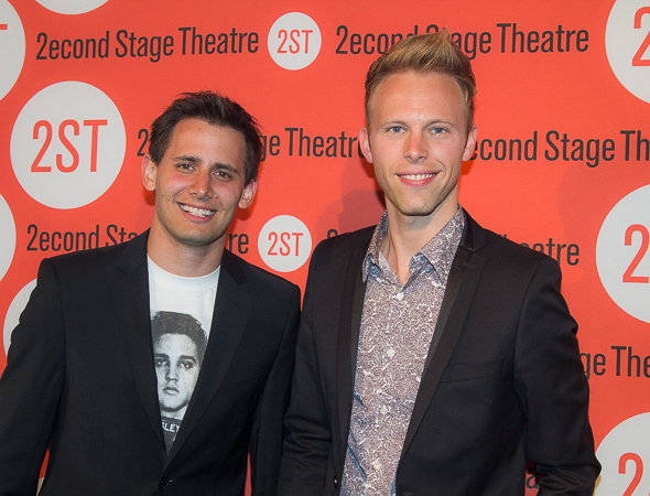 <p>Benj Pasek and Justin Paul smile for the cameras.</p><br />(© Seth Walters)
