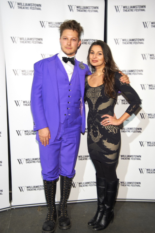 <p>Benjamin Scheuer and Martyna Majok pose for photos at the Williamstown Theatre Festival gala.</p><br />(© Richard Mitchell)