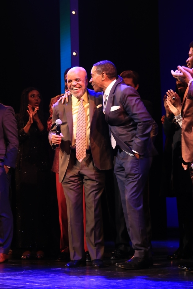 <p>Berry Gordy shares the stage with <em>Motown</em> director Charles Randolph-Wright.</p><br />(© Tricia Baron)