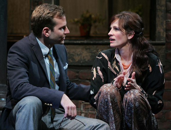 <p>Best Supporting Actor and Actress nominees Bradley Cooper (<em>American Hustle</em>) and Julia Roberts (<em>August: Osage County</em>) starred opposite each other in <em>Three Days of Rain</em> in 2006.</p><br />(© Joan Marcus)