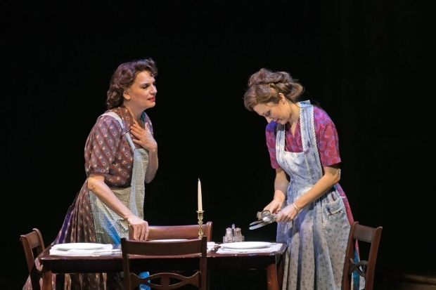 <p>Beth Leavel and Laura Osnes play mother and daughter, Mrs. Adams and Julia.</p><br />(© Jerry Dalia)
