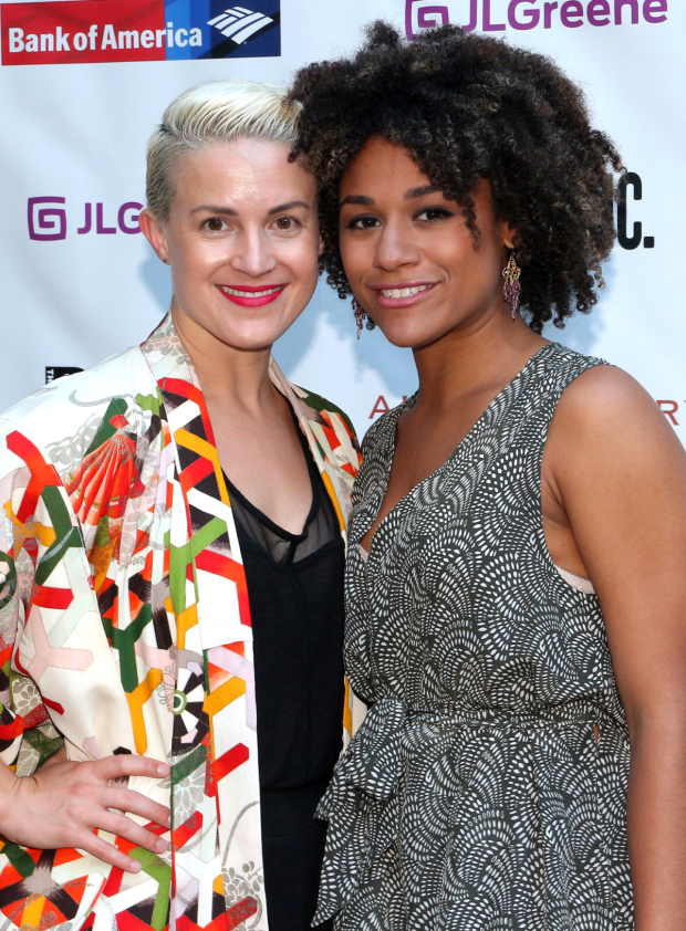 <p>Betsy Struxness and Ariana DeBose stop for a photo before entering the gates of the Delacorte.</p><br />(© David Gordon)