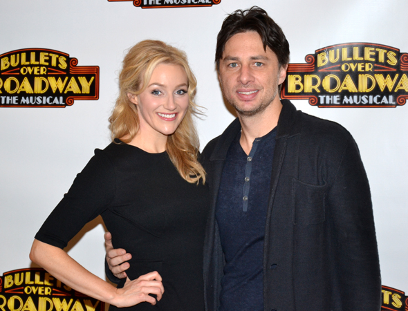 <p>Betsy Wolfe and Zach Braff share a photo after the presentation.</p><br />(© David Gordon)