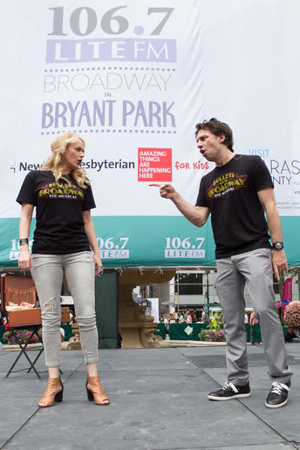 <p>Betsy Wolfe and Zach Braff sing a tune from <em>Bullets Over Broadway</em>.</p><br />(© Steve Prue for Clear Channel New York)