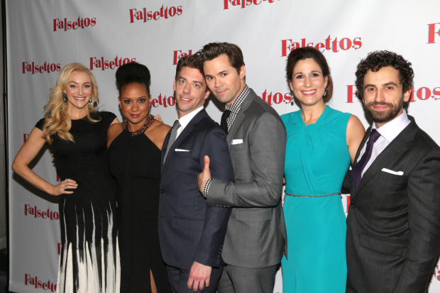 <p>Betsy Wolfe, Tracie Thoms, Christian Borle, Andrew Rannells, Stephanie J. Block, and Brandon Uranowitz walk the red carpet.</p><br />(© David Gordon)