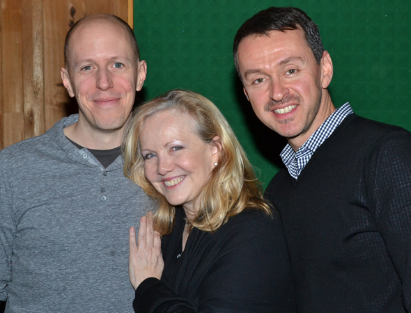 <p><em>Big Fish</em> book writer John August and composer/lyricist Andrew Lippa flank their director, Susan Stroman.</p><br />(© David Gordon)