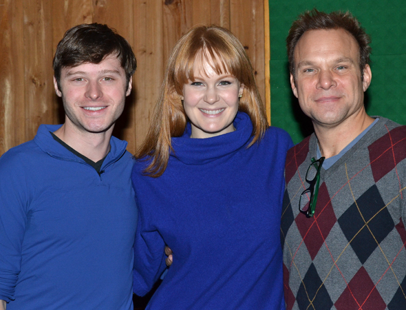 <p><em>Big Fish</em> stars Bobby Steggert, Kate Baldwin, and Norbert Leo Butz pose inside the recording studio.</p><br />(© David Gordon)