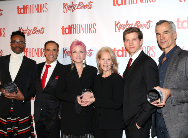 <p>Billy Porter, Hal Luftig, Cyndi Lauper, Daryl Roth, Stark Sands, and Jerry Mitchell celebrate <em>Kinky Boots</em> at the TDFHonors gala.</p><br />(© David Gordon)