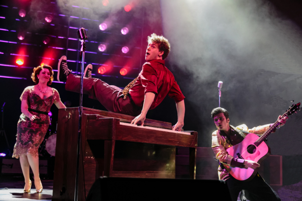 <p>Bligh Voth, Nat Zegree, and Alex Boniello in <em>Million Dollar Quartet</em>.</p><br />(© Jerry Dalia)