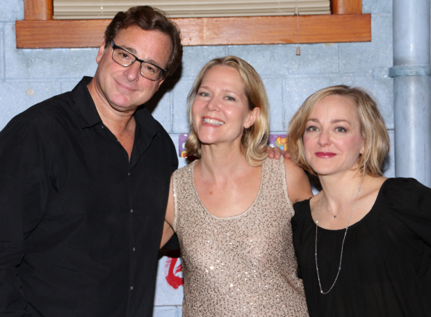 <p>Bob Saget and Geneva Carr flank one of the evening&#39&#x3B;s special guests, Broadway favorite Rebecca Luker.</p><br />(© David Gordon)