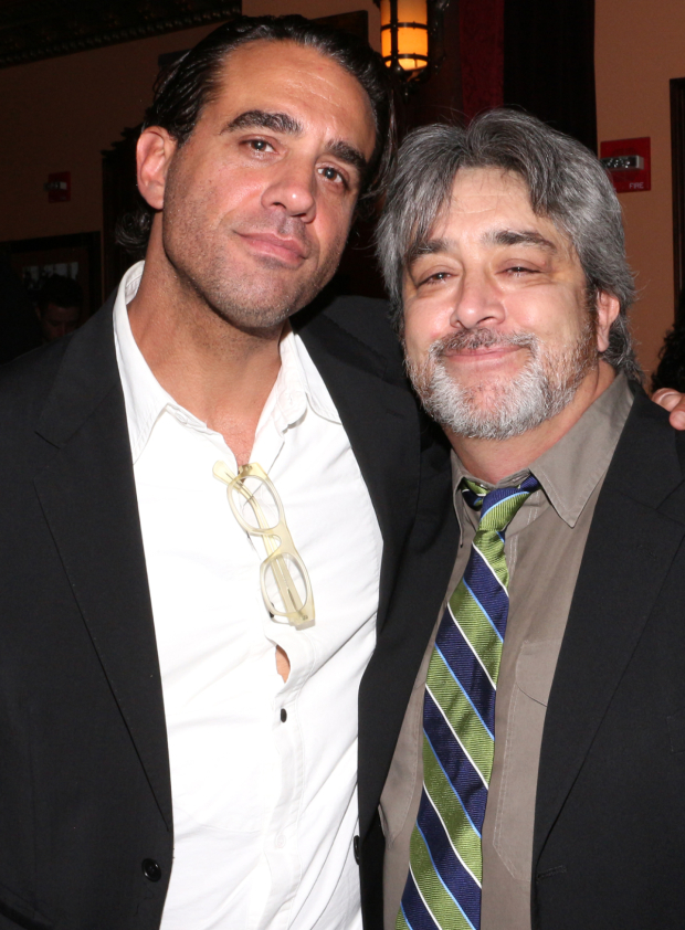 <p>Bobby Cannavale congratulates Stephen Adly Guirgis, Drama Critics&#39&#x3B; Circle Award winner for the play <em>Between Riverside and Crazy</em>.</p><br />(© David Gordon)
