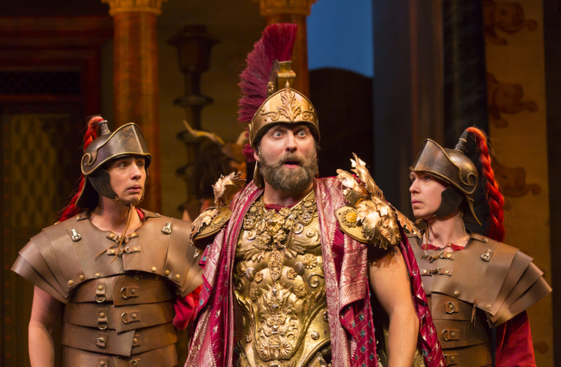 <p>Bobby Conte Thornton plays a Roman soldier (and Hero), Graham Rowat plays Miles Gloriosus, and David Turner plays a Roman Soldier (and Philia) in <em>A Funny Thing Happened on the Way to the Forum</em>.</p><br />(© T. Charles Erickson)