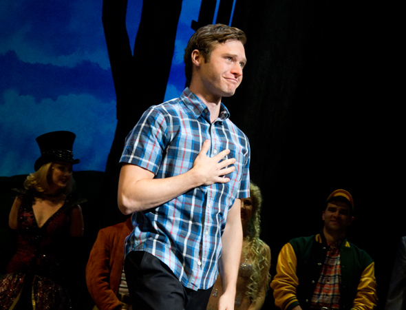 <p>Bobby Steggert is overcome with emotion as he takes his curtain call.</p><br />(© David Gordon)