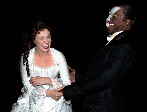 <p>Boggess and Lewis share a laugh after their performance.</p><br />(© David Gordon)