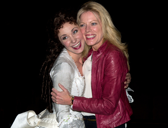 <p>Boggess gets a hug from her former <em>Little Mermaid</em> costar, Sherie Rene Scott.</p><br />(© David Gordon)