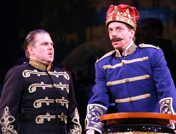 <p>Both Robert Creighton and Christian Borle play multiple parts in the madcap musical.</p><br />(© Joan Marcus)